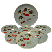 SALE 7 Piece Dessert / Salad Majolica Plate & Platter Set ~ Red Cherries & Butterflies ~. G ..