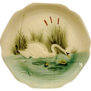 SALE Majolica /Faience Pottery Cabinet Plate ~ Hard to Find ~ Decorated with Elegant Swan ...