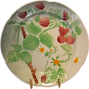 SALE Pretty French Majolica Faience ~ Ripe Red Raspberries~  St Clement France  early to mid .