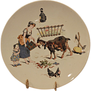 SALE Adorable Sarreguemines French Faience Cabinet Plate ~ Decorated with Barn Scene with Goat