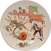 SALE Adorable French Faience Character / Story Plate with Family Picking Apples ~ Enfants ...