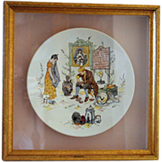 SALE Neat French Faience Story Plate / Plaque in a Shadowbox Frame ~ Man Fixing Distraught ...