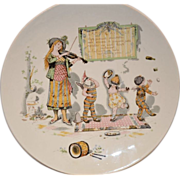 SALE Wonderful French Faience Character / Story Plate  or Plaque ~ Woman Playing a Violin with