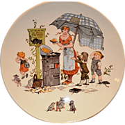 SALE Wonderful French Faience Character / Story Plate / Plaque with Children & Cats~ ~ Froment