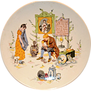 SALE Neat French Faience Story Plate / Plaque ~ Man Fixing Distraught Young Lady's Porcelain