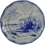 SALE French Faience Cabinet Plate ~ Fishing Ships ~  Marines Faienceries Sarreguemines France