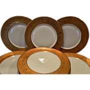 """SALE Stunning Set of 8 18K Gold Encrusted Dinner Plates ~ approx 11"""" W ~ Egyptian Gold Desig"""