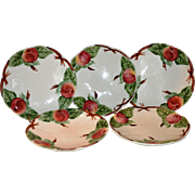 SALE Set of 5 Beautiful Majolica / Faience Plates ~ Decorated with Colorful Red Apples ~ ...