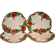 SALE Set of 4 Beautiful Majolica / Faience Plates ~ Decorated with Colorful Red Apples  ~ ...