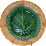 SALE Exceptional American Majolica Plate ~ with Leaf Shape ~ Etruscan Griffin, Smith & Hill of