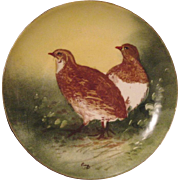 SALE Handsome Limoges Porcelain Game Plate ~ Hand Painted with a Pair of Quail ~ Artist Signed