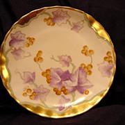 SALE Unusual Limoges Porcelain Cabinet Plate ~ Hand Painted with Golden Grapes ~Art Nouveau ~