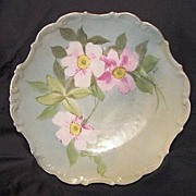 SALE Wonderful Limoges Porcelain Cabinet Plate Hand Painted with Soft Pink & White Wild Roses