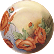 SALE Stunning Bavarian Porcelain Cabinet Plate ~ Hand Painted with Vibrant Orange Poppies ~ ..