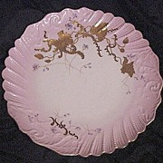 """SALE Gorgeous 12 ½"""" Limoges Porcelain Charger ~ Hand Painted with Pink Rim, Gold Raised ..."""