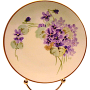 SALE Pickard Studio Decorated ~ Cabinet Plate ~ Hand Painted with Purple Violets ~ Artist Sign