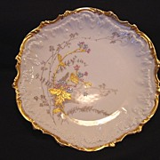 SALE Wonderful Limoges Porcelain Cabinet Plate ~ Factory Decorated with Gold ~ Coiffe ~ 1890 .