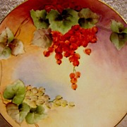 SALE Beautiful Limoges Porcelain Cabinet Plate ~ Hand Painted with Vibrant Currants ~ Artist .