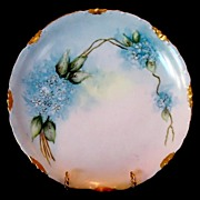 SALE Beautiful Limoges Porcelain Plate ~ Hand Painted With Blue Forget-Me-Nots ~ Artist ...
