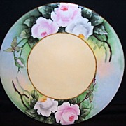 SALE Beautiful Cabinet Plate ~ Limoges Porcelain ~ Hand Painted by A. Andriana with Pink ...