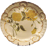 "SALE Exquisite 12 1/2"" Limoges Porcelain Charger / Cabinet Plate ~ Hand Painted Yellow Ro"