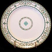 SALE Beautiful English Cabinet Plate with Raised Enamel Geometric Designs ~ Ridgways