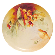 SALE Awesome Limoges Porcelain Cabinet Plate ~ Hand Painted with Burnt Orange Poppies ~ Artist