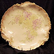 "SALE Outstanding Rococo Edge ~ 13 1/2"" Limoges Porcelain Charger / Platter / Plaque ~ Hand P"