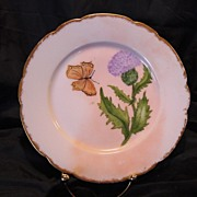 SALE Realistic Limoges Porcelain Cabinet Plate ~ Hand Painted with Purple Thistle Flower and .