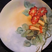 SALE Beautiful Limoges Cabinet Plate ~ Hand Painted with Vibrant Orange Trumpet Vines ~ Artist