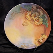 SALE Lovely Limoges Porcelain Cabinet Plate ~ Hand Painted with Sunny Daisy Flowers ~ Artist .