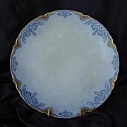 SALE Attractive Austrian Porcelain Cabinet Plate ~ Hand Painted ~ Blue Matte Finish ~ Oscar an