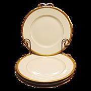 """SALE Four White Gold Encrusted Rimmed Limoges Porcelain 8 ½"""" Plates ~ Delinieres / Bernarda"""