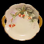 SALE Limoges Porcelain Cake Plate ~ Delicious Looking Rainier Cherries ~ Hand Painted  ~ ...