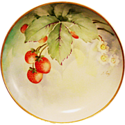 SALE Ginori Italy Cabinet Plate ~ Artist Signed ~ Hand Painted with Delicious Ripe Strawberrie
