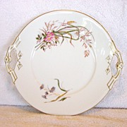 SALE Attractive 139 Year Old Limoges Porcelain Double Handled Cake Plate ~ Factory Decorated ~
