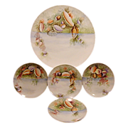 "SALE Extraordinary  5 Piece Set of Bavarian Porcelain ~ 13"" Platter & 4 Matching Plates ~ Ha"