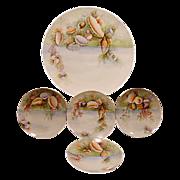 "SALE Extraordinary  5 Piece Set of Bavarian Porcelain ~ 13"" Platter & 4 Matching Plates ~ .."