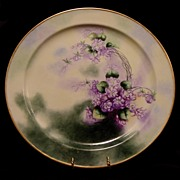 """SALE Exceptional 13 ¾"""" Limoges Porcelain Charger / Tray ~ Hand Painted with Purple African"""