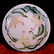 SALE Delightful Majolica Cabinet Plate Decorated with Yellow Pink Daffodils