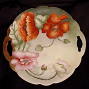 SALE Poppy Lovers Delight! Austrian Porcelain Two Handled Cake Plate ~ Hand Painted with Orang