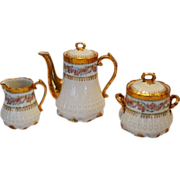 SALE Stunning Limoges Set ~ 2 Cup Coffee / Tea Pot with Sugar & Creamer ~ GERARD ...