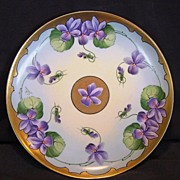 SALE Gorgeous Limoges Porcelain Cabinet Plate ~ Stouffer Studio Decorated with Gold and Purple