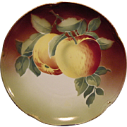 SALE Great Majolica Cabinet Plate with Apples ~KELLER & GUERIN -  ca. 1890s - 1930s