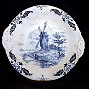 "SALE Awesome German Earthenware Cake Plate Decorated with Cobalt Blue Wind Mill Scene ""Royal"