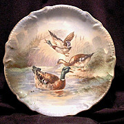 """SALE Handsome Limoges Porcelain 11"""" Plate / Charger ~ Hand Painted with Mallard Ducks ~ Arti"""