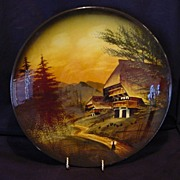 "SALE Extraordinary 12"" German Black Forest Majolica hand painted Charger / Wall Plaque ~ Mou"