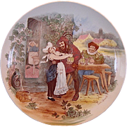 "SALE Wonderful 11"" French Tavern Scene Plate / Wall Plaque by Louis Mimard ~  H Boulenger .."