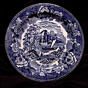 "SALE Gorgeous English ~ Blue & White Scenic Earthenware Plate~ ""Landscape"" Pattern ~"