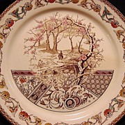 "SALE Awesome English Earthenware Plate with Polychrome Transfer ~ ""Yosemite"" Pattern ~ T R"